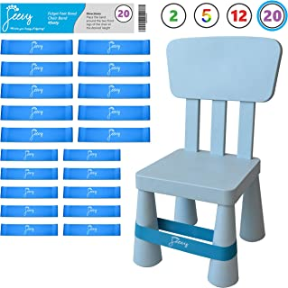 Chair Bands for ADHD Kids – (20-Pack) Bouncy Kick Fidgets for Elementary, Middle, High School Students and Adults for Classroom Chairs and Desk – (Light Blue) Fidget Feet Band by Feety