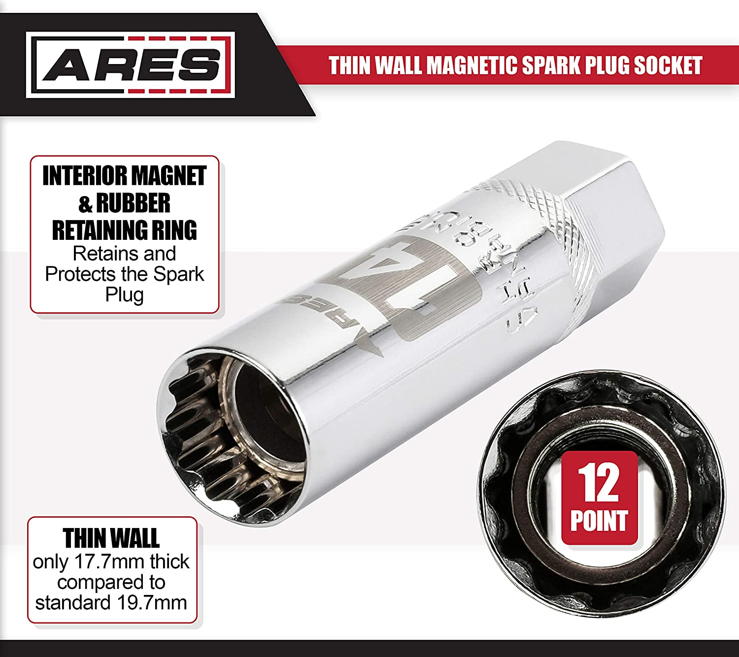 ARES 11017-14mm 3//8-inch Drive Thin Wall Magnetic Spark Plug Socket 12-Point Design for Enhanced Grip and Fit Walls 2mm Thinner Than Standard Spark Plug Sockets