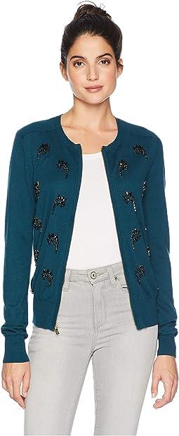 Embellished Crystal Paisley Cardigan