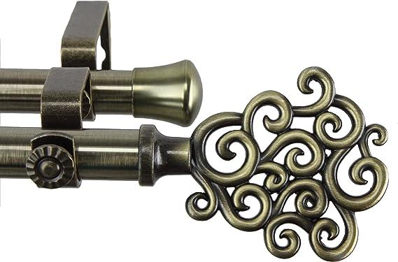 Antique Brass 28-48 Rod Desyne Rimmed Curtain Rod