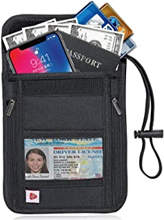 Passport Holder, Neck Wallet - RFID Blocking Hidden Security Travel Wallet Pouch for Women Men, Keep Your Money and Documents Safe