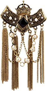Black Crowned Stone with Hanging Chains and Pearl Chain Brooch Lapel Pin