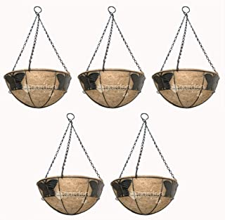 GARDEN KING 10 INCH Butterfly Design Coir Hanging Basket with Chain (Set of 5) Designer Coir Hanging Flower Plant Containe...