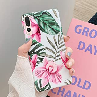 PHEZEN Case for Huawei P20 Pro Case for Women Girls,Green Leaves Pink Flowers Pattern Ultra Thin Shockproof Silicone Phone Case Flexible Soft TPU Full-Body Protective Cover Case for Huawei P20 Pro