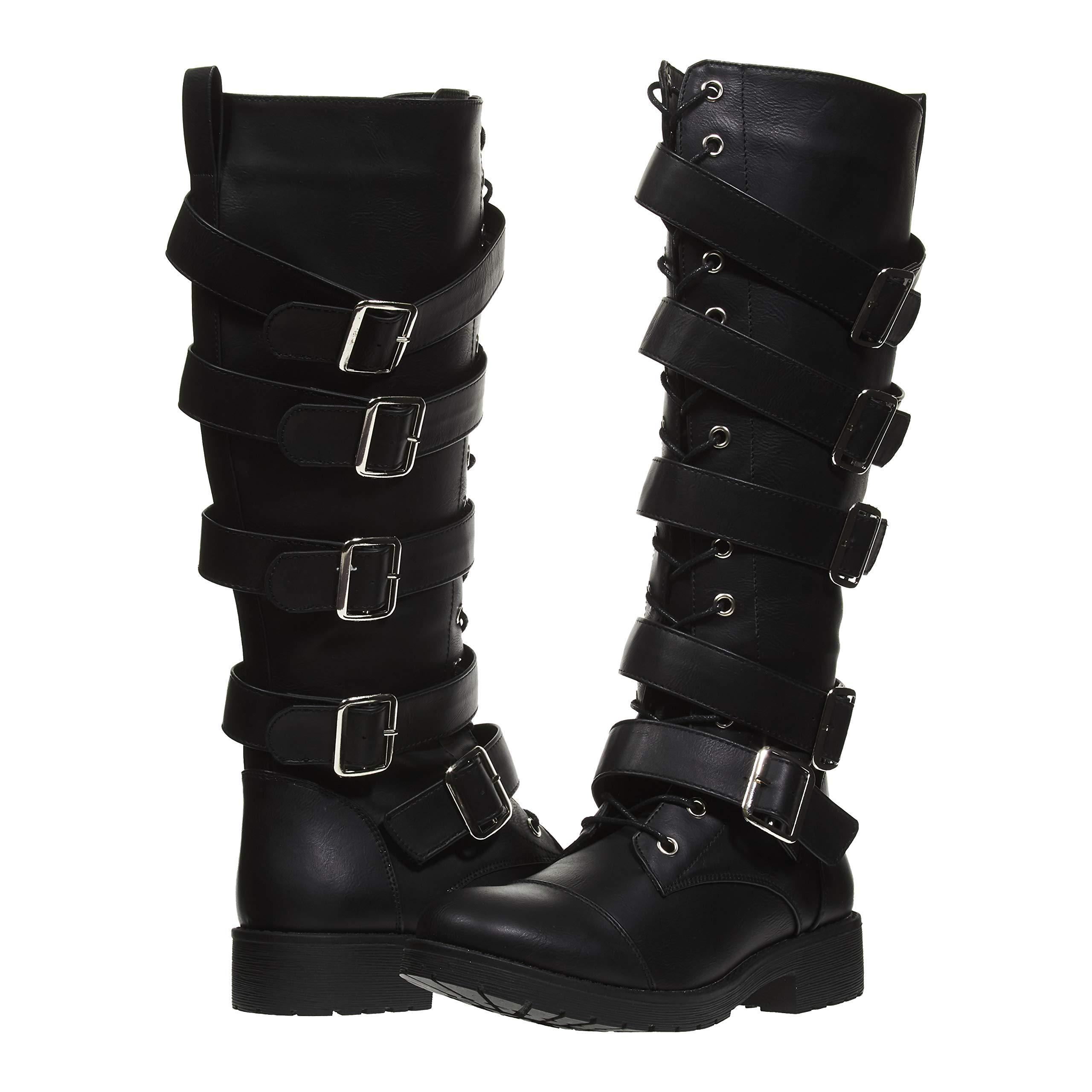 ファッションバックルレディースブーツ;ブラックレディースブーツ