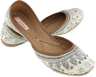 Fulkari Women's Pearl Beads Payal Genuine Soft Leather Jutis   Bite and Pinch Free Juttis   Punjabi Formal Jutti   Girl's ...