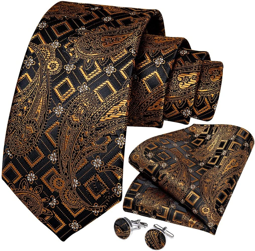 UXZDX CUJUX Gold Black Men's OFFicial mail order Ties Max 78% OFF Width Length Necktie 8cm 150cm
