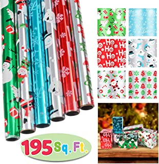 """6 Rolls Foil Wrapping Paper Set (30"""" X 156"""") for Holiday Xmas Gift Wrap, Christmas Gift Wrapping Decoration, School Classrooms, Party Favors, Xmas Present Décor."""