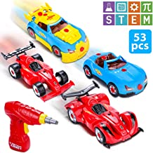 Vimpro Take Apart Cars, Build Your Own Toy Racer Car STEM toys with 53 pieces Assembly Car Toys with Drill Tool for Boys and Girls with Lights and Sounds