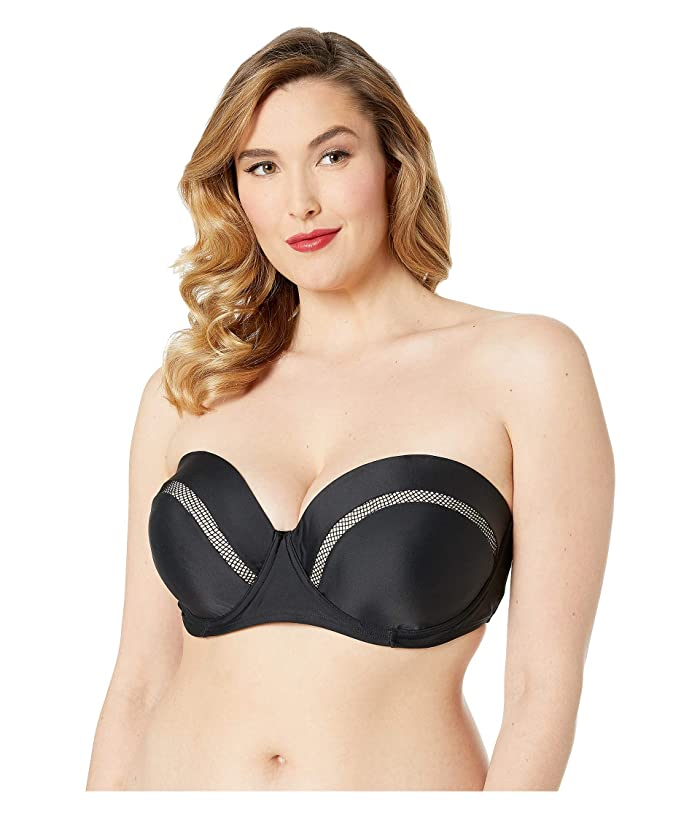 Unique Vintage Plus Size Marianne Bandeau Swim Top (Black) Women