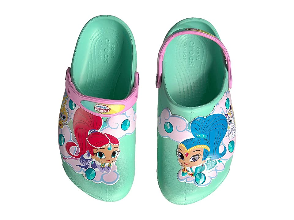Crocs Kids Fun Lab Shimmer Shine Lights Clog (Toddler/Little Kid) (New Mint) Girls Shoes