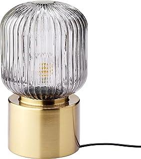 SOLKLINT lámpara de mesa 28 cm latón/vidrio transparente gris