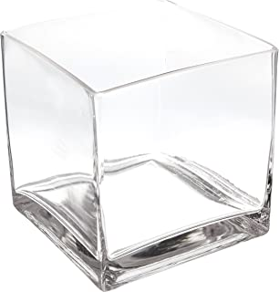 WGV Clear Square Cube Glass Vase/Votive Candle Holder, 6-Inch