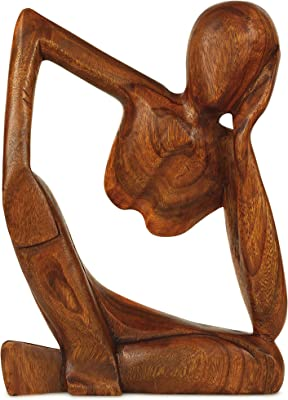 """G6 Collection 12"""" Wooden Abstract Sculpture Handmade Handcrafted Art - Thinking Man 2 - Home Decor Decorative Figurine Accent Decoration Hand Carved Thinker Statue Thinking Man 2"""