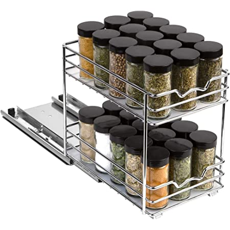 "Pull Out Spice Rack Organizer for Cabinet – Heavy Duty Slide Out Double Rack 6 -3/8""W x10-3/8""D x 8-7/8 H For Upper Kitchen Cabinets and Pantry Closet, For Spices, Sauces, Cans etc. 6"" Between Shelves"