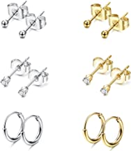 Jstyle Stainless Steel 2mm Tiny Stud Earrings for Women Mens Endless Hoops CZ Balls Cartilage Earrings Set 20G