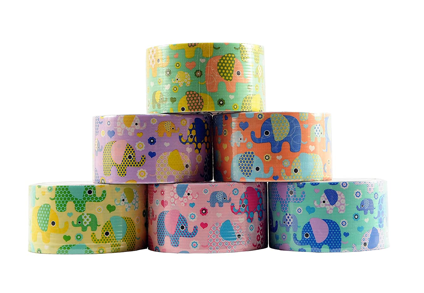 6 Roll Variety Pack of Decorative Duct Style Tape, Elephant Tape, Each Roll 1.88 Inch x 5 Yards, Ideal for Scrapbooking - Decorating - Signage (6-Pack, Elephants)