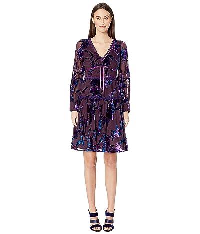 Marchesa Notte Bishop Sleeve Printed Velvet Burnout Cocktail Dress (Purple) Women