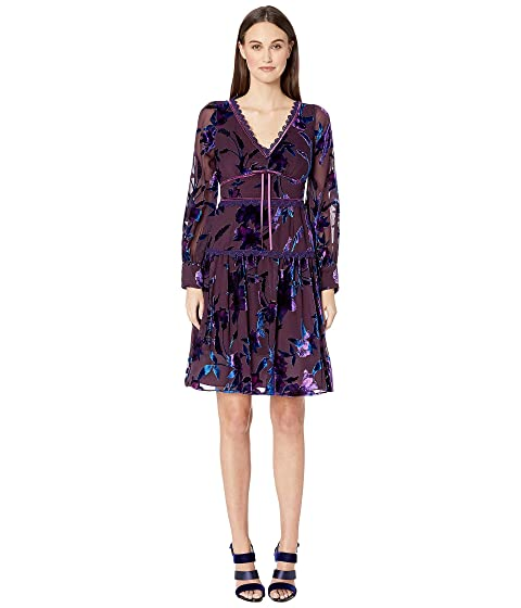 Marchesa Notte Bishop Sleeve Printed Velvet Burnout Cocktail Dress