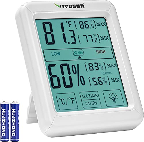 VIVOSUN Digital Indoor Thermometer and Hygrometer with Humidity Guage, Accurate Temperature Humidity Monitor Meter with Touch LCD Backlight for Home, Office, Indoor Garden, Battery Include