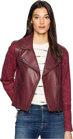 Leather Suede Mix Classic Moto Jacket