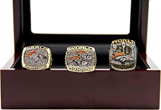 Kickoff101 1997 1998 2015 Denve' Broncos Championship Rings with Display Case Set