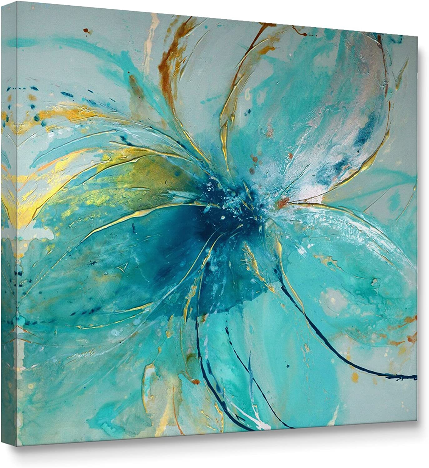 Niwo Art (TM - bluee Flower A, Floral Painting Artwork - Giclee Wall Art for Home Decor,Office or Lobby, Gallery Wrapped, Stretched, Framed Ready to Hang (24 x24 x1.5 )