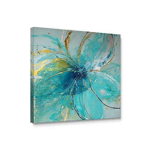 Niwo Art TM   Blue Flower A, Floral Painting Artwork   Giclee Wall Art For