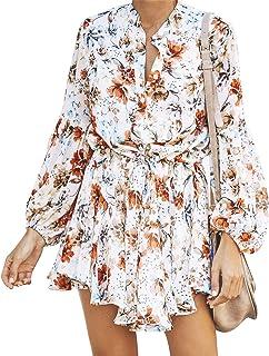 Cotrio Mini vestido feminino de chiffon floral vestido de verão com decote em V com babado swing manga comprida casual fin...