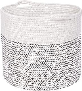Domiking 綿ロープ収納バスケット、ランドリーバスケット、収納バスケット折りたたみ式、白黒(高さ33cm *直径38cm)