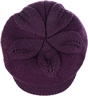 Be Your Own Style BYOS Womens Winter Chic Cable Warm Fleece Lined Crochet Knit Hat W/Visor Newsboy Cabbie Cap
