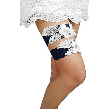 YuRongsxt Bridal Garter Set Pearls Garter Set Wedding Rhinestone Garter Set G30