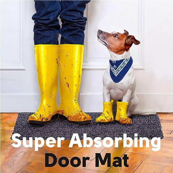 Hello Feet Indoor Door Mat Super Absorbent Dirt Trapper Doormat 18x28 Inches Small Low Profile Front Door Entry Rug Washable Grey Cotton Microfiber Carpet Non Slip Backing