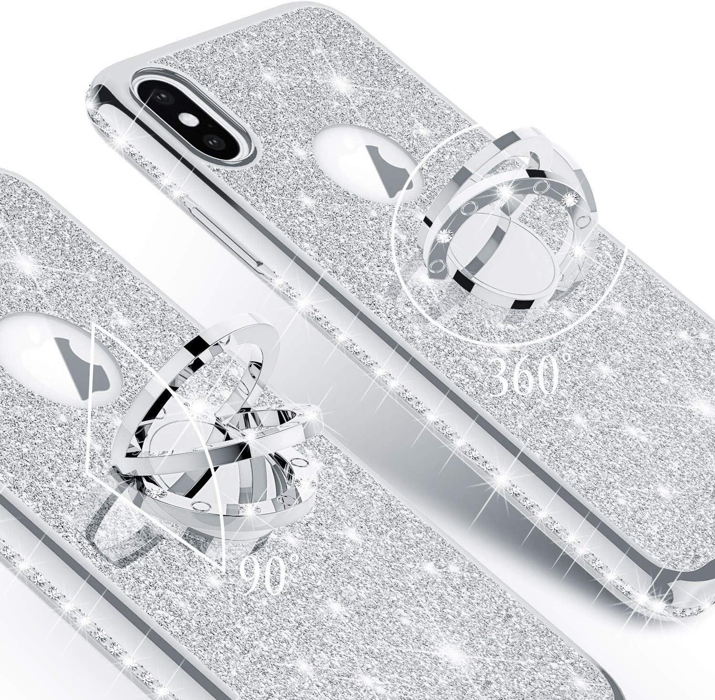 Nadoli Coque Strass pour Galaxy J6 Plus 2018,Brillante Diamant Coque Housse pour Fille Femme Glitter Paillet/é Anneau Stand Support Silicone Bumper Cover pour Samsung Galaxy J6 Plus 2018,Noir
