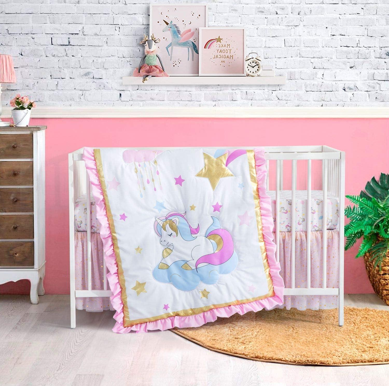 Little Cheap SALE Start Grape mart Land 3 Piece Crib Bedding Bed Set for Nursery Girls