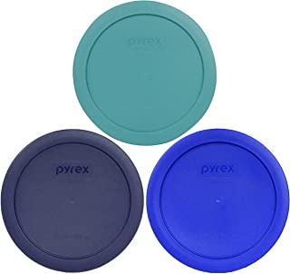 Pyrex 7201-PC 4 Cup (1) Turquoise (1) Cobalt Blue (1) Dark Blue Round Plastic Lids - 3 Pack
