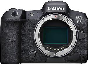 Canon EOS R5 Vollformat Systemkamera - Gehäuse (spiegellos, 45 MP, 8K RAW, 4K 120p, 5-Achsen Bildstabilisator, 8,01 cm (3,15 Zoll) LCD II, WLAN, Bluetooth, USB 3.1, Dual Pixel CMOS AF II) schwarz