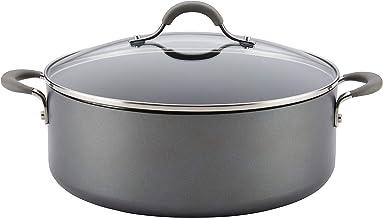 Circulon 84569 Elementum Hard Anodized Nonstick Stock Pot/Stockpot with Lid, 7.5 Quart, Oyster Gray