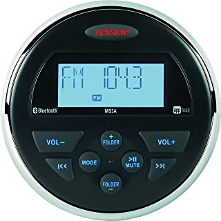 """Jensen MS3ARTL AM/FM/USB/Bluetooth Compact 3.5"""" Round Waterproof Stereo with App Control"""