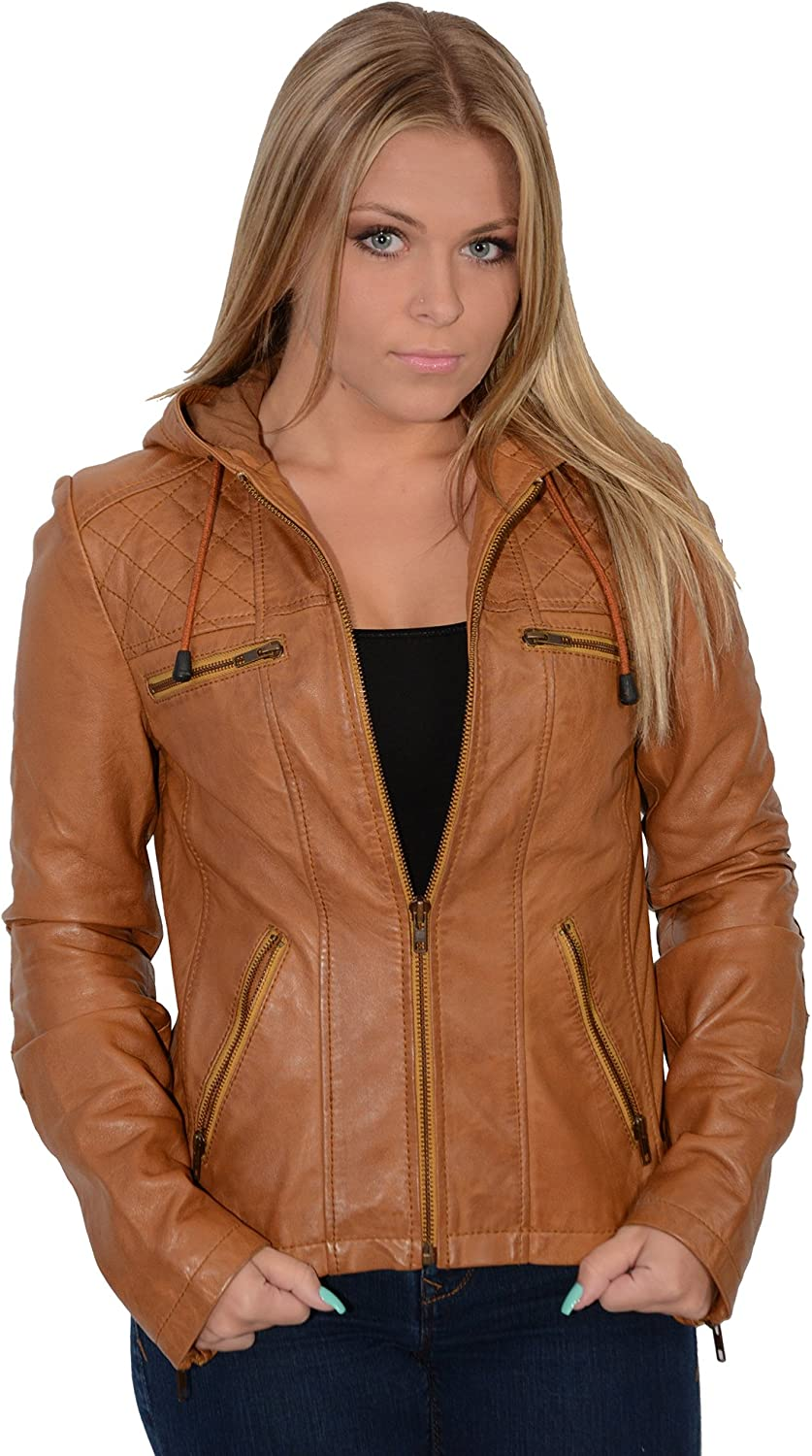 Milwaukee Leather Women's Hooded Scuba Jacket with Draw String (Cognac, X Large), 1 Pack