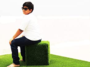 DREAM INTERNATIONAL Green Artificial Grass Table/Chair. Easy to Carry and Strong(1.2X1.2 FEET)