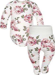 Sibinulo Jungen Mädchen Body Strampler  Hose mit Füßen Babykleidung Set Größen 0 bis 6 Monate, 2er Pack Rosen Mischen