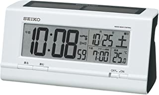 セイコー クロック 目覚まし時計 ハイブリッドソーラー 電波 デジタル カレンダー 温度 表示 白 パール SQ766W SEIKO