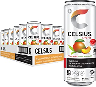 Celsius Peach Mango Green Tea Flavour Non-carbonated Fitness Drink (24 Cans),