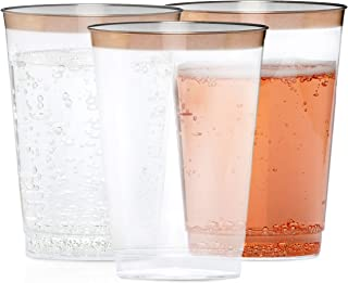 Celebrite Clear Cups with Rose Gold Rim | 12 oz Pack of 60 | Rose Gold Plastic Cup | Plastic Wine Tumbler | Disposable Cups for Weddings | Clear Plastic Cups | Disposable Wine Glasses | Party Cups