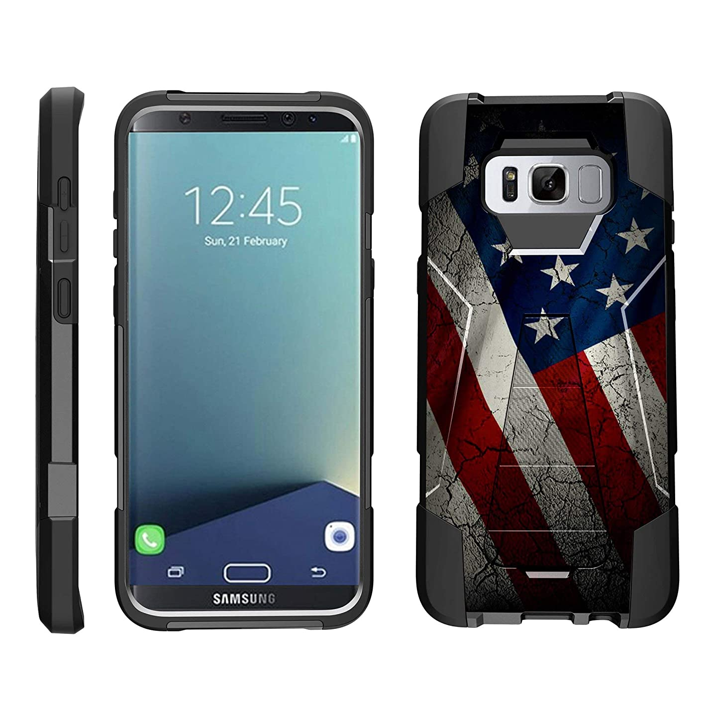 TurtleArmor | Compatible Samsung Galaxy S8+ Case | S8 Plus Case | G955 [Dynamic Shell] Hybrid Dual Layer Hard Shell Cover Kickstand Silicone Case - American Flag