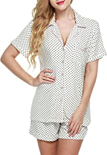 Ekouaer Pajamas Set Short Sleeve Sleepwear Womens Button...