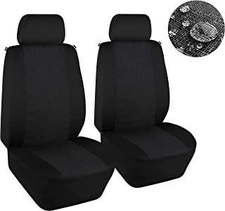 Elantrip Water Resistant Linen Cloth Front Seat Cover Universal Fit WaterproofBreathable Bucket Seat Cover Protection Airbag Compatible for Car SUV Truck, Black 2 PC