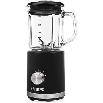 Princess 212078 Batidora compacta, jarra de cristal, capacidad 0.8 L, 500 W, Acero inoxidable, 5 velocidades, negro y transparente: Amazon.es: Hogar
