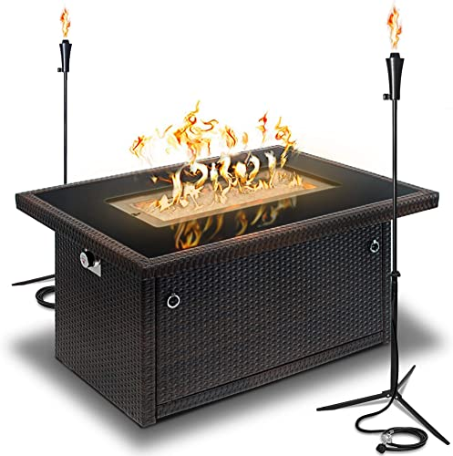 discount Outland Living Series 403 Brown 44-Inch Outdoor Propane Gas Fire Pit Table, Black Tempered Tabletop w/Arctic Ice Glass Rocks and Resin Wicker new arrival Panels (Espresso outlet sale Brown/2-Pack 20 LB Tonga Torch) online